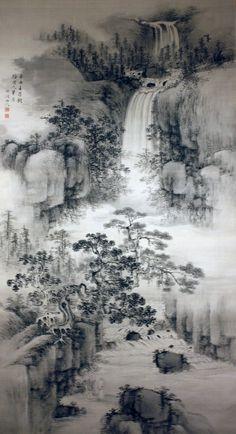 Landscape with a Waterfall by NAKABAYASHI Chikuto (1776-1853), Japan 中林竹洞