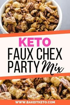No doubt the easiest and best crunchy low carb and keto snack! This Keto Faux Chex Party Mix tastes JUST like the real thing! Perfect for an on the go or late night snack, and so much better than chip Keto Foods, Keto Approved Foods, Keto Snacks, Healthy Party Snacks, Keto Desserts, Diet Dinner Recipes, Diet Recipes, Ketogenic Recipes, Chili Recipes