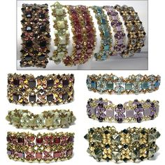 Use size 11 seed beads, any size beads (fire-polished, bicone, round, glass pearl) and either Czechmates tile beads or Czech Beadstuds to create a single band or a wider double band. Beading Patterns Free, Beaded Bracelet Patterns, Jewelry Patterns, Beaded Jewelry, Handmade Jewelry, Bead Patterns, Beaded Watches, Twin Beads, Seed Bead Bracelets