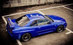 壁紙をダウンロードする r34, スポーツカー, チューニング, クーペ, 青いスカイライン