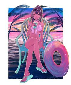 uminoie People Art, Anime Style, Manga Anime, Kawaii, Draw, Artist, Summer, Fictional Characters, Pixiv