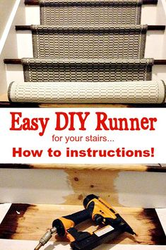 to Add a Runner to Stairs How to Add a Runner to Stairs, easy DIY that you can do to revive your stairs!How to Add a Runner to Stairs, easy DIY that you can do to revive your stairs! Home Remodeling Diy, Basement Remodeling, Home Renovation, Home Improvement Loans, Home Improvement Projects, Home Projects, Cheap Home Decor, Diy Home Decor, Hallway Carpet Runners