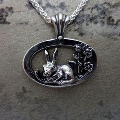 rabbit animal jewelry silver14k gold bunny flowers pendant charm handmade best USA – All Animal Jewelry & Jan David Design Jewelers