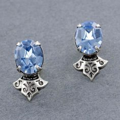 Sadie Green's Light Sapphire Austrian Crystal Stud Earring
