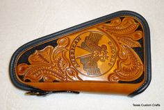 IN STOCK Leather Pistol Case with Hand Tooled by texascustomcrafts