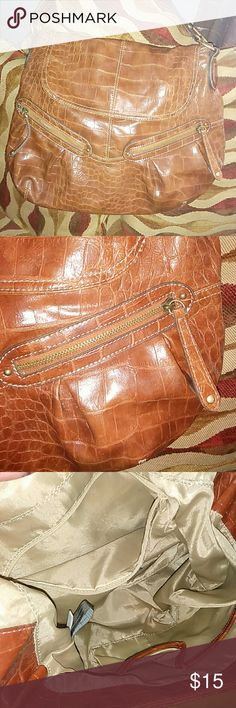 Large Brown Handbag-ELLE 100% vinyl and lining 100% polyester. Great used condition. Elle Bags