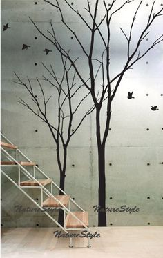 Get It Now vinyl wall decal winter trees wall decal nursery flying birds decal tree wall decor girl bedroom decor-Two Winter Trees by NatureStyle.
