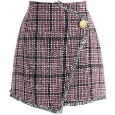 Chicwish Winsome Asymmetry Grid Tweed Flap Skirt in Red (2.155 RUB) ❤ liked on Polyvore featuring skirts, mini skirts, bottoms, pink, tweed skirt, pink tweed skirt, fringe skirt, short red skirt and asymmetrical skirt