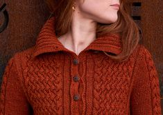 Long cabled cardigan knitting pattern. Ena by Linda Marveng knit using The Fibre Co. Acadia.