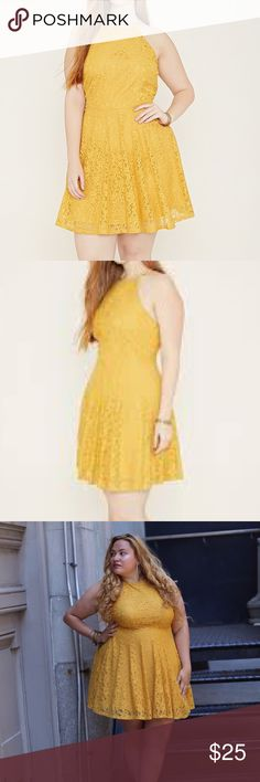 Nicole miller yellow lace dress