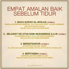 amalan sebelum tidur Islamic Quotes, Quran Quotes Inspirational, Islamic Messages, Muslim Quotes, Islamic Art, Hijrah Islam, Doa Islam, Reminder Quotes, Self Reminder