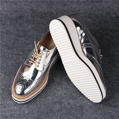 2015 Fashion Street Style Shiny Silver Closed Toe Lace Up Women's Metallic Oxfords Low Heel Sneakers Brogue Casual Derby Shoes