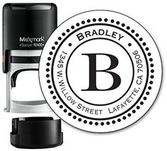 Monogram Address Stamp - Personalized Self Inking Rubber Stamp (MOAD014-SI)