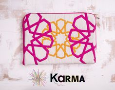 handmade khaymia (hand-sewn) laptop sleeve with colorful Islamic patterns.  made by Karma from Egypt