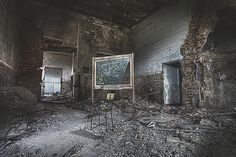 One of the classrooms Château de Noisy abandoned school – Belgium by Andre Govia Official Name is Chateau Miranda built in 1866