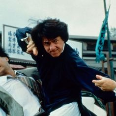 "Jackie Chan in The Legend of Drunken Master;  ""Sifu say, Down some liquor, then down your foes."""