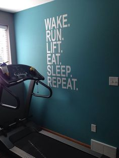 Only if I had a workout room! ---Wake Run Lift Eat Sleep Repeat, Wall Decor Vinyl Decal Gym Workout Motivation Quote 18 Gym Room At Home, Home Gym Decor, Home Gyms, Fitness Motivation, Sport Motivation, Daily Motivation, Fitness Routines, Motivation Wall, Cardio Fitness