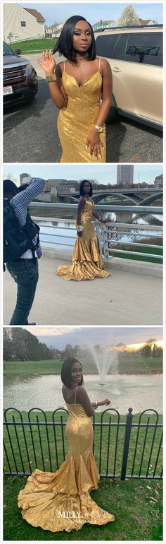 Long Prom Dresses Mermaid 2019 Gold Prom Dresses Sparkly Modest Prom Dresses With Slit Beautiful Prom Dresses V Neck Cheap Formal Dresses Long, Gold Formal Dress, Gold Prom Dresses, Beautiful Prom Dresses, Prom Dresses Online, Mermaid Prom Dresses, Pageant Dresses, Modest Dresses, Prom Gowns