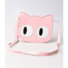 Banned Light Pink Leatherette Wide Eye Cat Face Shoulder Bag (€44) ❤ liked on Polyvore featuring bags, handbags, shoulder bags, multicolor, man shoulder bag, handbag purse, purse shoulder bag, shoulder handbags and zip shoulder bag