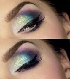 Eyeshadow in vibrant blue, green, and purple.