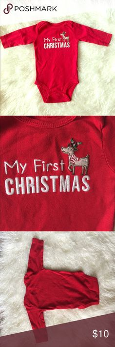 First Christmas Onesie ⭐️ My first Christmas reindeer onesie. Bundle for discounts on baby clothes | NO TRADES, NO HOLDS, NO MERCARI/NON-PM TRANSACTIONS & all negotiations through the offer button, please ❤️ Carter's One Pieces Bodysuits
