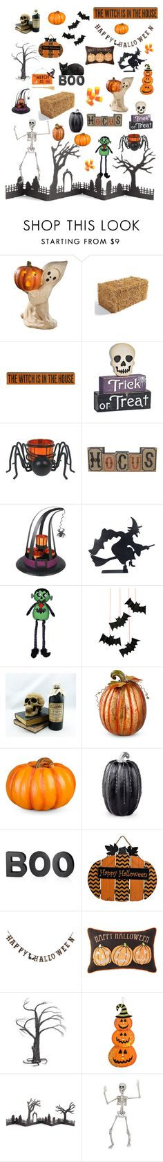 """Happy Halloween 👻🎃☠️"" by miss-shan-nicole ❤ liked on Polyvore featuring interior, interiors, interior design, home, home decor, interior decorating, Bethany Lowe, Grandin Road, Paul Frank and Meri Meri"