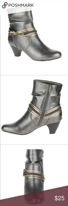 """NEW Soft Style by Hush Puppies Gayla Boots Size 6 Color: Dark Pewter Vitello; Size 6; Introducing your go-to dressy boot. Designed with a rouched silhouette, this ankle boot is finished with an allover sheen, and a metallic strap detail with a gold-tone ornament. Give any outfit a step up with this style, crafted with our SoftDelight™ technology for all-day comfort and superior shock absorption. • Rouched dress ankle bootie with strap detailing • Soft Delight Comfort System • 14/8"""" heel Hush…"""