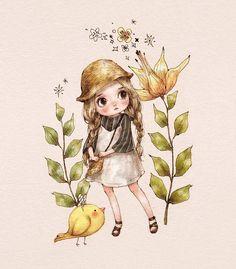 "3,786 次赞、 15 条评论 - 애뽈 (@_aeppol) 在 Instagram 发布:""소녀와 병아리  #일러스트 #일러스트레이션 #소녀 #밀짚모자 #원피스 #병아리 #캐릭터 #illust #illustration #girl #girlish #character…"""