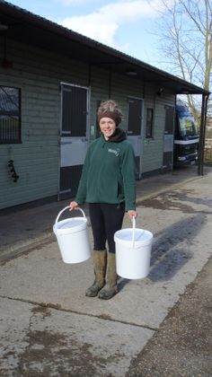 Jess from The Horse Trust on her way to use OiPPS buckets :)