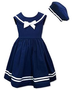 Jayne Copeland Kids Dress, Little Girls Sailor Dress and Beret - Kids - Macy's