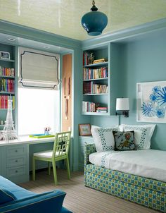 Katie Ridder - Blue & green chic teen girl's bedroom design with blue walls paint color, ...