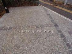 駐車場 洗い出し コンクリート 目地 ピンコロ