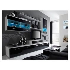 TV #LED Design Logi noir et blanc 2 - Cet ensemble mural meuble tv LED ...