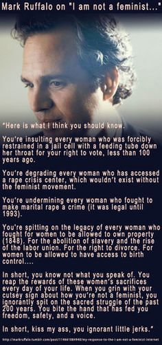 Mark Ruffalo On His Mother's Abortion & The Libby Anne Bruce Response - 'I Am Not A Feminist'. The best. A+ for Mark Ruffalo y'all Thats The Way, That Way, Mark Ruffalo, Intersectional Feminism, Patriarchy, Faith In Humanity, Social Issues, Human Rights, Women's Rights