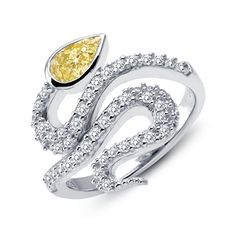Lafonn Snake Ring #yearofsnake     SIMULATED CLEAR/CANARY DIAMOND STERLING SILVER BONDED WITH PLATINUM