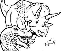 un drôle de dinosaure arrosant la fleur à colorier coloriage