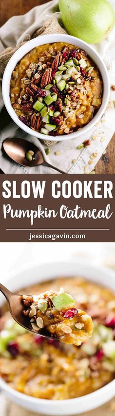Healthy Pumpkin Slow Cooker Steel Cut Oatmeal - A wholesome recipe perfect for fall mornings and meal prep breakfast solution! Made with warm spices and pears for a natural sweetness, add your favorite toppings. via @foodiegavin