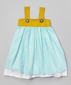 Aqua & Mustard Stripe Litza Dress - Toddler & Girls | Daily deals for moms, babies and kids