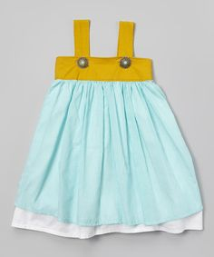 Aqua & Mustard Stripe Litza Dress - Toddler & Girls | Daily deals for moms, babies and kids