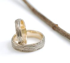 yellow gold tree bark wedding band set by beth cyr - handmade in recycled metals