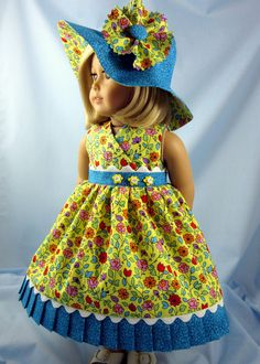 Your 18-Inch American Girl Doll will look fresh as a daisy in this flower-strewn sundress and hat combination! Two pretty cotton prints combine