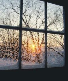 Looking out the frosted cabin window