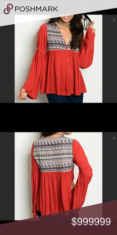 🌺🌺🌺COMING SOON!!!🌺🌺🌺Gorgeous Boho Top!!🌺🌺 This top is 90% Polyester and 10% Cotton.  It features long bell sleeves, spliced fabric, button front closure and loose fit.  🌺❤️🌺 Serendipity by Design Tops