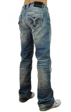 Affliction Men's Cooper Mod V Leather Ill Flap Federation Boot Cut Denim Jeans: Clothing