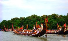 The Aranmula Boat Race takes place at Aranmula, India. Thousands of people gather on the banks of the river Pampa to watch the snake boat races. Nearly 30 snake boats participate in the festival. Each snake boat belongs to a village along the banks of the river Pampa. Every year the boats are oiled mainly with fish oil, coconut shell, and carbon, mixed with eggs to keep the wood strong and the boat slippery in the water.