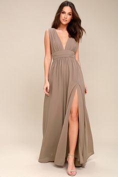 You'll be goddess-like for the entire evening in the Lulus Heavenly Hues Taupe Maxi Dress! Georgette fabric drapes alongside a V-neck and back, and lays across a banded waist. Full maxi skirt has a sexy side slit. Hidden back zipper with clasp. Plus Size Dresses, Sexy Dresses, Fashion Dresses, Beach Dresses, Evening Dresses, Prom Dresses, Bohemian Dresses, Dressy Dresses, Wedding Dresses