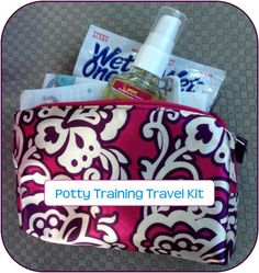 Potty Training Travel Kit- everything you need to get through a public restroom without touching anything! #pottytraining #travelwithkids