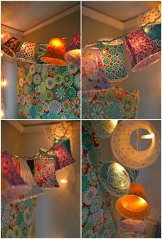 Festive lights made using clear plastic cups, fabric scraps, modge podge, and a string of white lights.