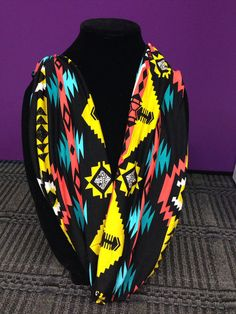 Tribal print Native American black yellow pink blue Cotton infinity Scarf Cowl Neck Jersey Knit on Etsy, $22.00