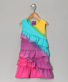 Take a look at this Rainbow Tie-Dye Ruffle Dress - Infant, Toddler & Girls by Mix & Match: Girls' Apparel on #zulily today!